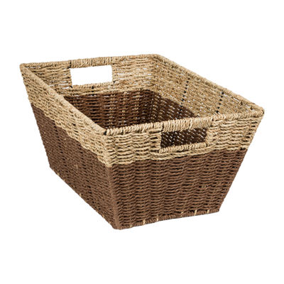 Honey-Can-Do Set of 3 Rectangle Nesting Seagrass 2-Color Baskets with Built-In Handles