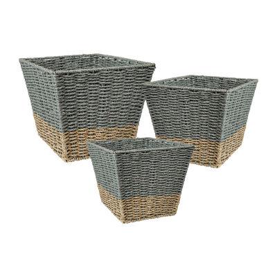 Honey-Can-Do Set of 3 Square Nesting Seagrass 2-Color Baskets