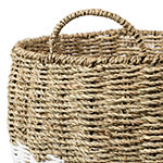 Honey-Can-Do Set of 3 Round Nesting Seagrass 2-Color Baskets with Handles