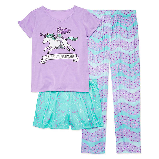 Arizona 3pc. Mermaid Pajama Set - Girls