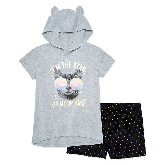 Arizona 2pc. Cat Dreams Short Pajama Set - Big Girls & Plus