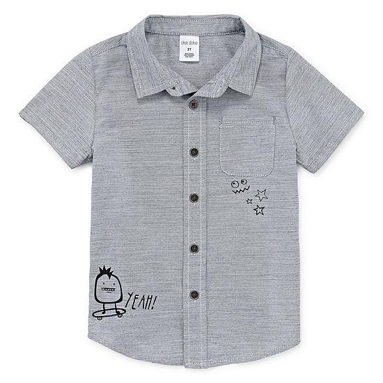 Okie Dokie Boys Short Sleeve Button-Front Shirt Toddler