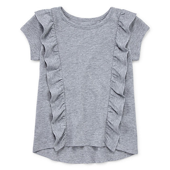 Okie Dokie Girls Crew Neck Short Sleeve T-Shirt-Toddler