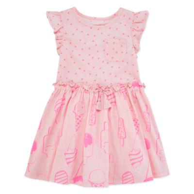 Okie Dokie Cap Sleeve Skater Dress - Toddler Girls