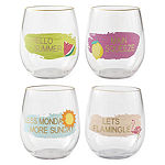 Outdoor Oasis Set of 4 Tropical Stemless Wine Glasses