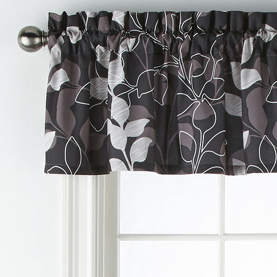 Home Expressions Graphic Leaf Rod-Pocket Tailored Valance