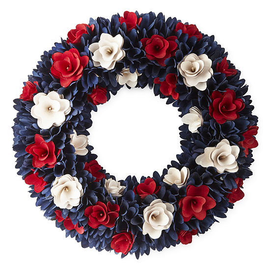 JCPenney Home Americana Floral Wood Curl Wreath