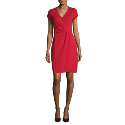 Worthington Short Sleeve Midi Sheath Dress