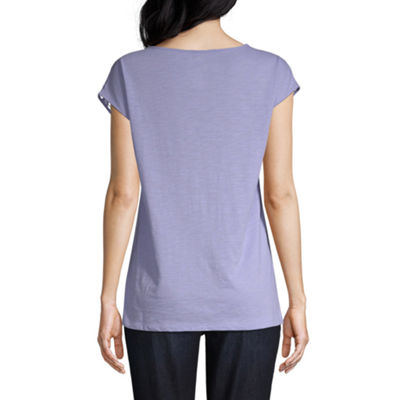 St. John's Bay Lace Yoke Tee - Tall