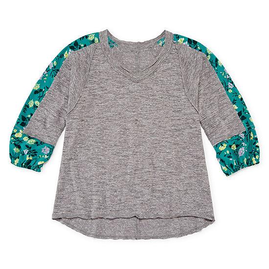 Arizona Knit Woven Mix Top - Girls' 4-16 & Plus
