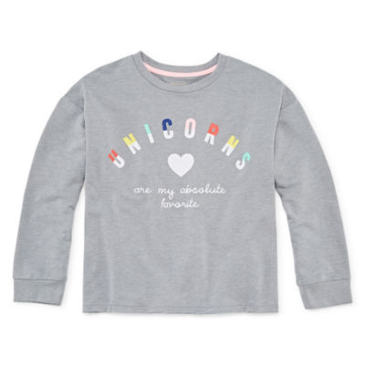 Arizona Long Sleeve Unicorn Sweatshirt - Girls' 4-16 & Plus
