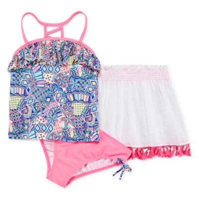 AZ Geometric Floral Tankini wtih Skirt - Girls 4-16 & Plus