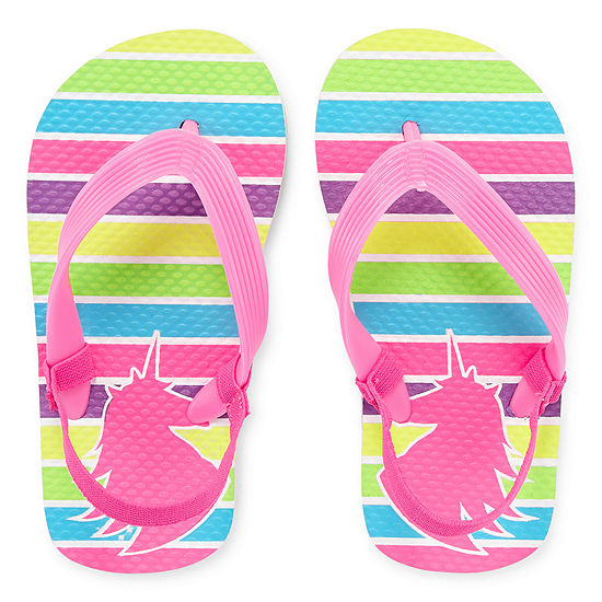 Okie Dokie Flip-Flops - Unicorn Rainbow Stripes
