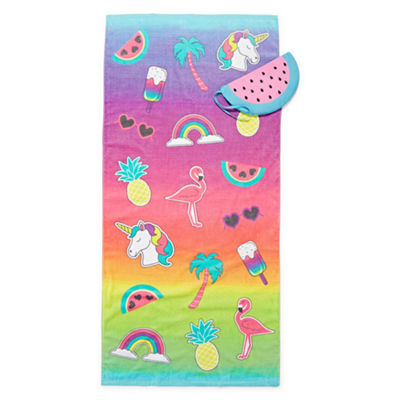 Summer Icon Printed Beach Towel & Watermellon Bag Set