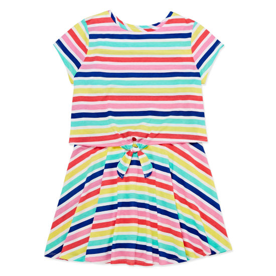 Arizona Short Sleeve Striped A-Line Dress Girls