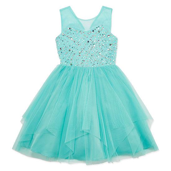 Love Jayne Beaded Sleeveless Party Dress Big Kid Girls