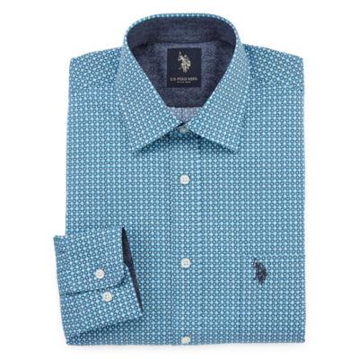 U.S. Polo Assn. U.S. Polo Assn. Big And Tall Mens Spread Collar Long Sleeve Stretch Dress Shirt