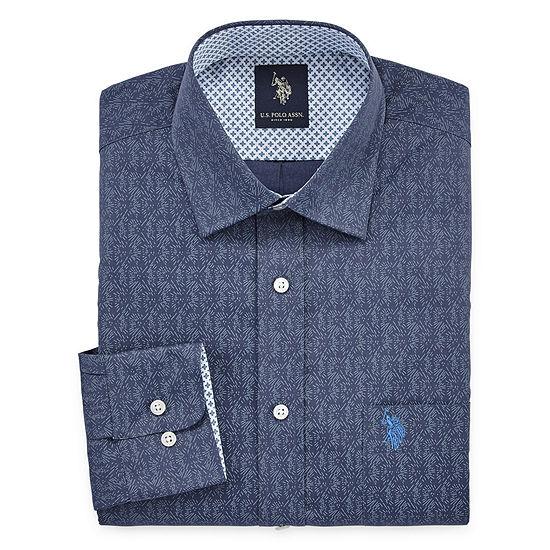U.S. Polo Assn. Mens Easy Care Spread Collar Big and Tall Dress Shirt