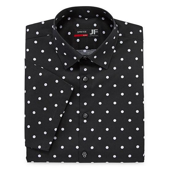 JF J.Ferrar Mens Spread Collar Short Sleeve Stretch Dress Shirt - Slim