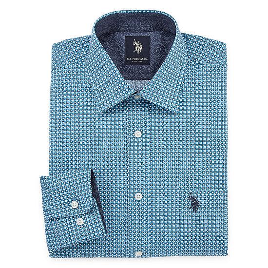 U.S. Polo Assn. Long Sleeve Geometric Dress Shirt - Slim