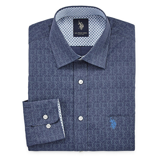 U.S. Polo Assn. Mens Spread Collar Long Sleeve Stretch Dress Shirt - Slim