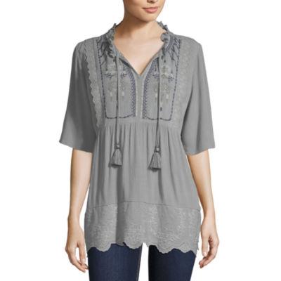 Artesia Womens V Neck Short Sleeve Blouse