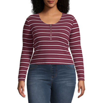 Arizona-Womens Round Neck Long Sleeve T-Shirt Juniors Plus