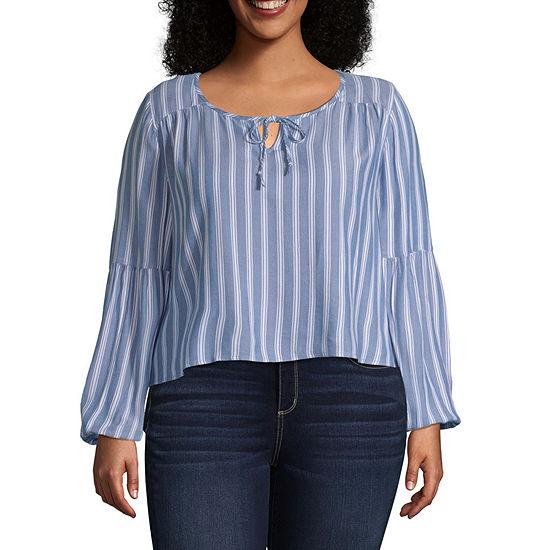 Arizona Womens Long Sleeve Modern Fit Button-Front Shirt-Juniors Plus