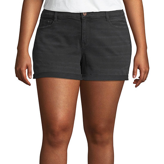 "Arizona Womens Low Rise 2 1/2"" Denim Short-Juniors Plus"