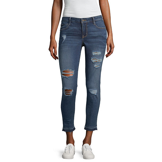 Arizona Womens Mid Rise Ankle Cropped Jean - Juniors