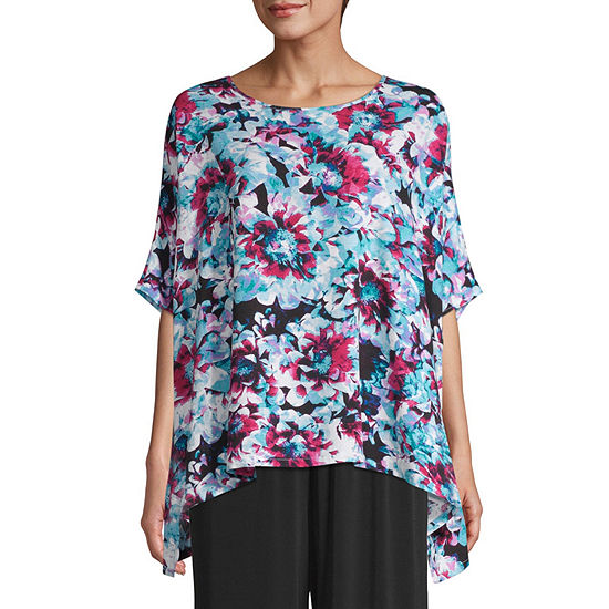 east 5th Womens Round Neck Elbow Sleeve Blouse