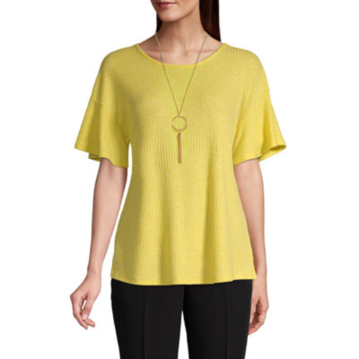 east 5th Womens Crew Neck Short Sleeve Knit Blouse