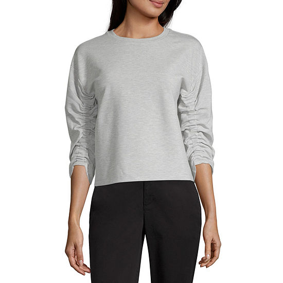 Worthington Womens Round Neck 3/4 Sleeve Sweatshirt