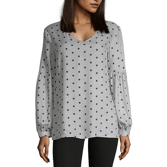 Liz Claiborne Spring 2019 Ls Blouses Womens V Neck Long Sleeve Blouse