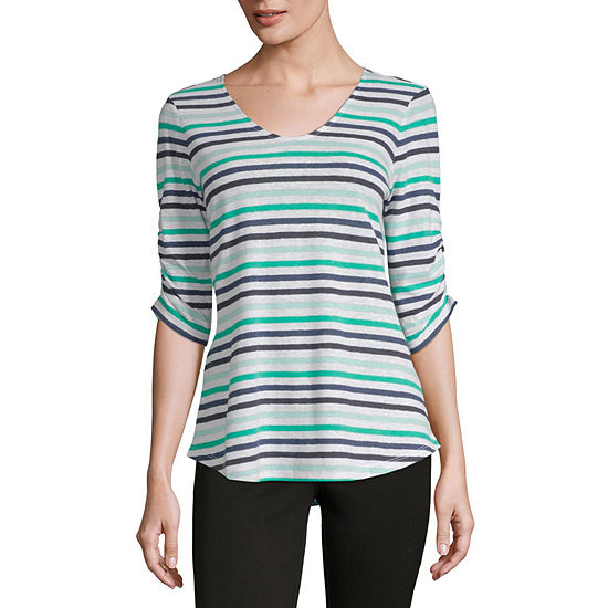 Liz Claiborne Ruched Sleeve V Neck Stripe T-Shirt-Womens
