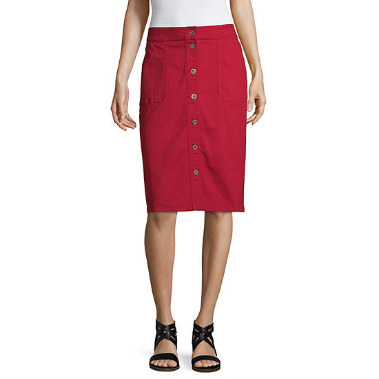 Liz Claiborne Womens Midi Denim Skirt