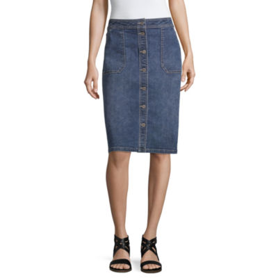 Liz Claiborne Womens Midi Denim Skirt