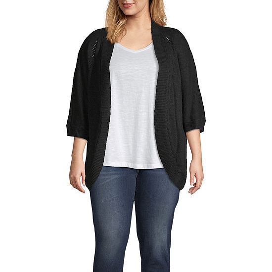 Ana Womens 3 4 Sleeve Open Front Cardigan Plus