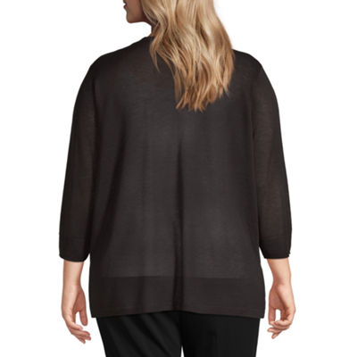 Worthington Womens 3/4 Sleeve Cardigan-Plus