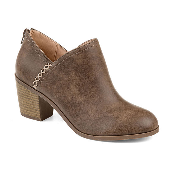 Journee Collection Womens Manda Booties Stacked Heel Zip