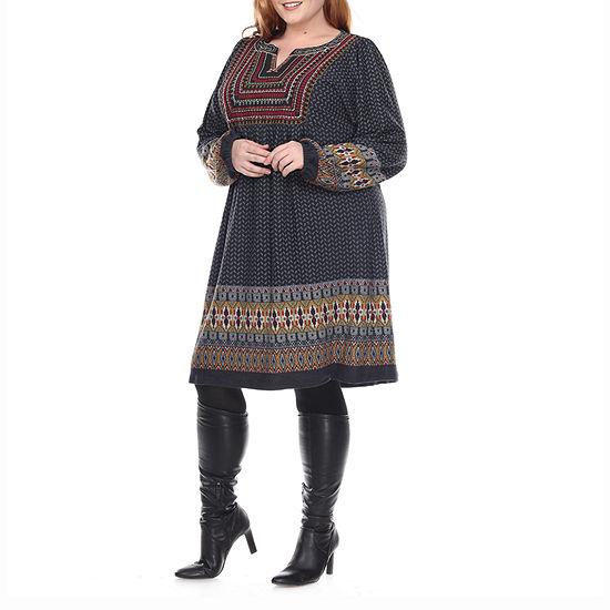 White Mark-Plus Atarah Embroidered Long Sleeve Sweater Dress
