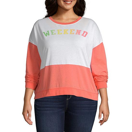Juniors Plus Womens Round Neck Long Sleeve Sweatshirt