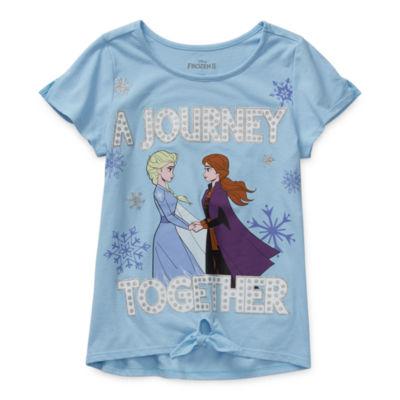 Disney Little & Big Girls Round Neck Frozen Short Sleeve Graphic T-Shirt