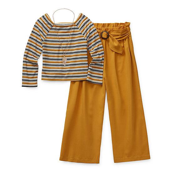 Knit Works Girls 2-pc. Striped Pant Set Preschool / Big Kid