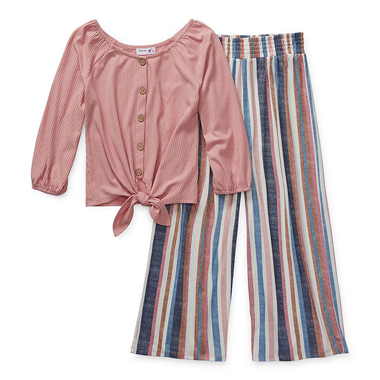 Knit Works Girls 2-pc. Striped Pant Set Preschool / Big Kid