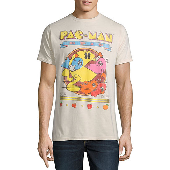 Mens Crew Neck Short Sleeve Pacman Graphic T-Shirt