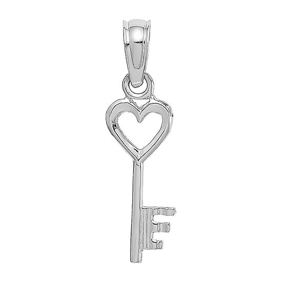 Womens 14K White Gold Keys Pendant