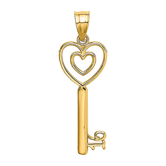 Womens 14K Gold Keys Pendant
