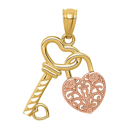 Womens 14K Two Tone Gold Keys Pendant
