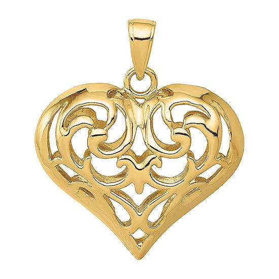 Womens 14K Gold Heart Pendant